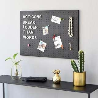 Magnetic White & Black Pegboard