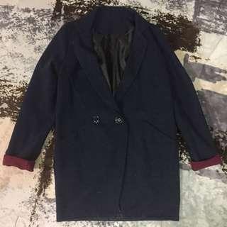 🚚 深藍色袖口拼接酒紅色單釦翻領毛呢大衣