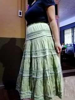 bohemian light green long skirt