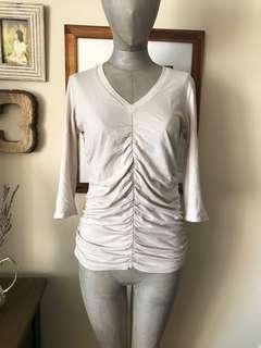 Beige 3/4 length sleeve top