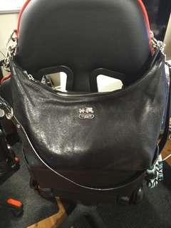 Black leather Coach purse (hobo, crossbody)