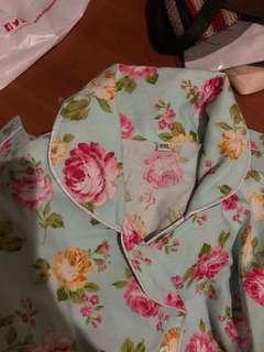 piyama pajamas floral bunga lengan panjang