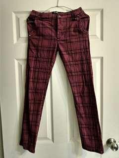 🚚 日系英倫搖滾復古 酒紅色格紋褲