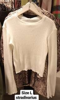 stradivarius knitted top white