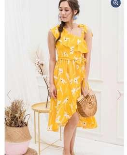 🚚 Lechic Thy Florals Come Midi Dress Marigold Paddy Fields