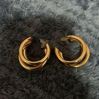 Three Hooped Gold Earrings