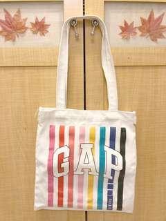 🚚 GAP 彩色條紋 帆布肩背包