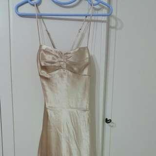 🚚 Price Reduced!! Champagne Satin Gold Evening Dress