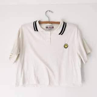 Embroidered Smiley Cropped Polo