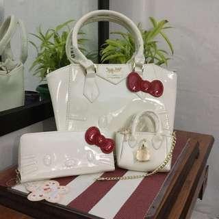 Authentic New Hello Kitty Handbag, Wallet and mini bag set
