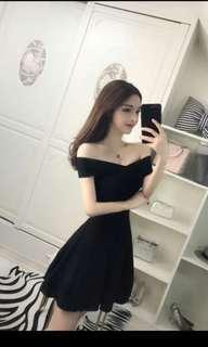 彈性修身連身裙(黑色M)