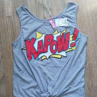 Kapow Comic Book Gray Tank Top