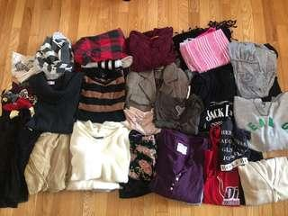 Clothing lot. Mainly size small and xs. Mainly tops. Some scarves, bottoms, dresses, accessories