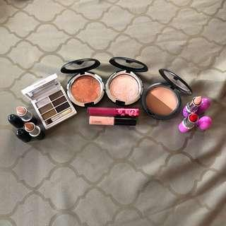 MAC Cosmetics and Lime Crime Makeup eyeshadow palette blush highlighter sculpting duo lipstick lipgloss