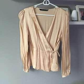M Zara Satin Wrap Blouse