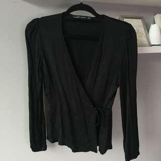 S Zara Satin Wrap Blouse
