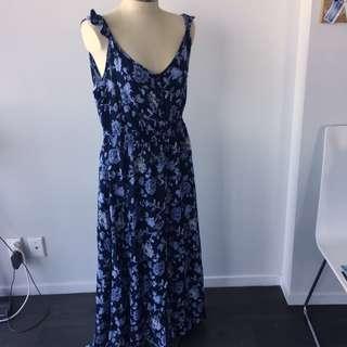 BLUE FLORAL MAXI FRILL STRAP DRESS