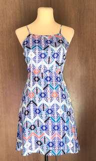 Blue Aztec Spaghetti Dress