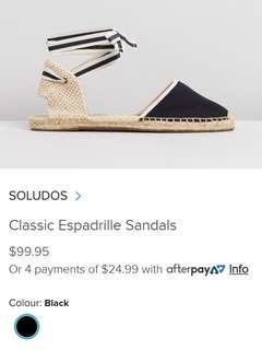 Soludos flat classic sandal espadrilles black cream