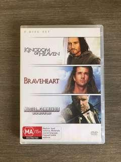 Kingdom Of Heaven + Braveheart + Master And Commander DVDs 7 Disc Set