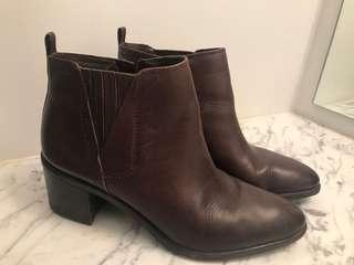 Franco Sarto 8.5 Leather Booties Dark Brown