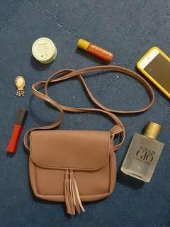 Nude Old rose pinkish brown sling bag