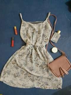 Pastel Gray Flowy Spaghetti Strap Dress