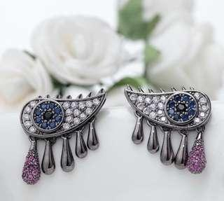 Fabulous Unique Crystal Eye Earrings