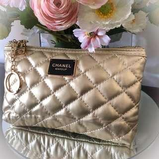 Stunning Authentic Gold Quilted Designer Cosmetic Clutch