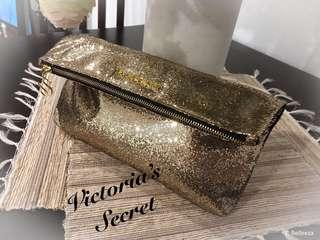 Gorgeous New Victoria's Secret Shimmer Gold Large Flip Clutch
