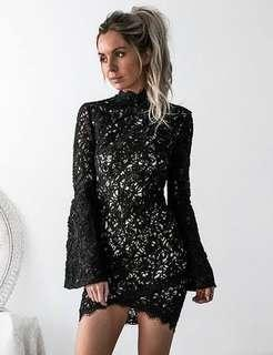 Sndys Camille lace black dress $115rrp