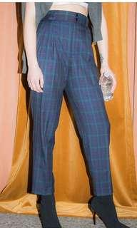 Vintage plaid high rise pleated trousers