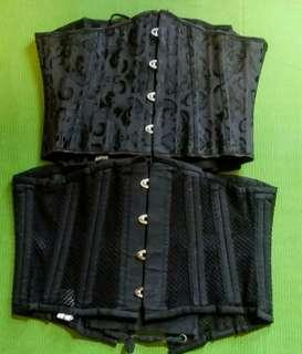 Brocade and mesh corsets.