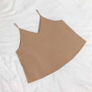 🚚 brown basic v-neck tank top