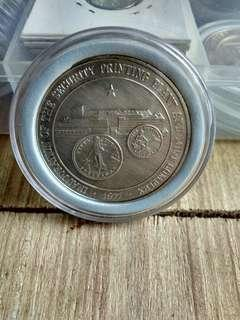 50 pesos bsp security printing press silver coin with coin capsule