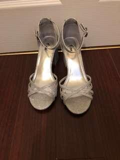 SILVER block heels