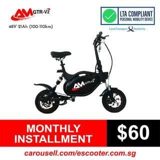 AM 48V 21Ah (100-110km) Electric Scooter LTA Compliant