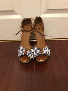 Blue striped bow wedges