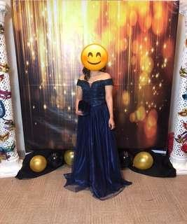 Royal Blue Ball Gown with same color clutch bag