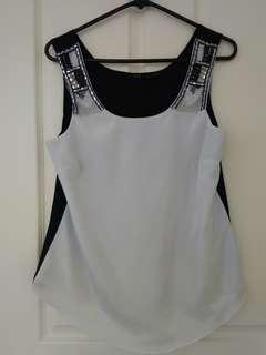 White and Black sleeveless top