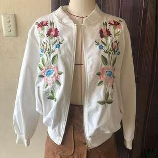 White floral embroidered Bomber Jacket