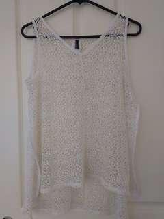 White sleeveless top overlay
