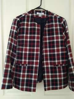 Women's checkered front open jacket