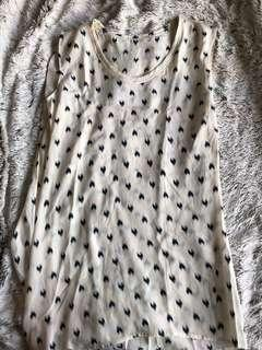 Stella McCartney silk white top with blue hearts (factory overrun)