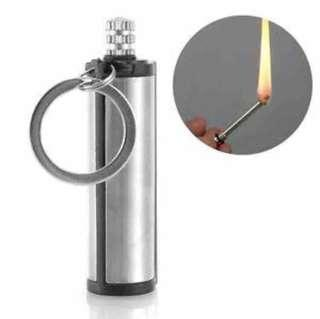 Mini Cylinder Stainless Steel Permanent Fire Starter Flint Match with Keychain