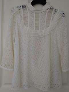 Women's cream lace top