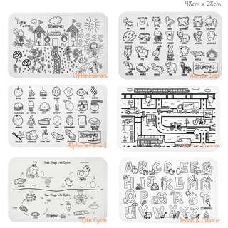 #ohmymats Reuseable Colouring and Dining Place Mat, Large