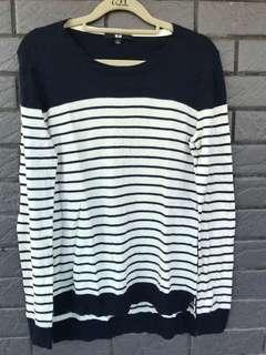 深藍//白。條紋。薄毛衣(cashmere)