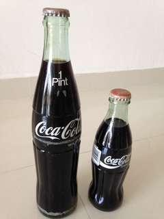 🚚 1990s USA Coca Cola Green Glass Bottles 1 Pint and 237ml Coke (you pick one)