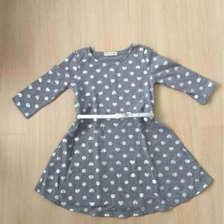 Grey Polka Dot Dress with Belt